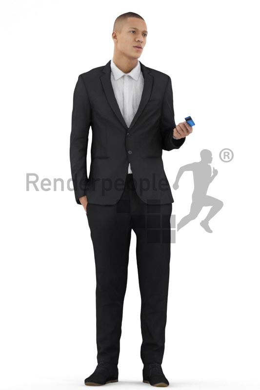 3d people business, black 3d man standing