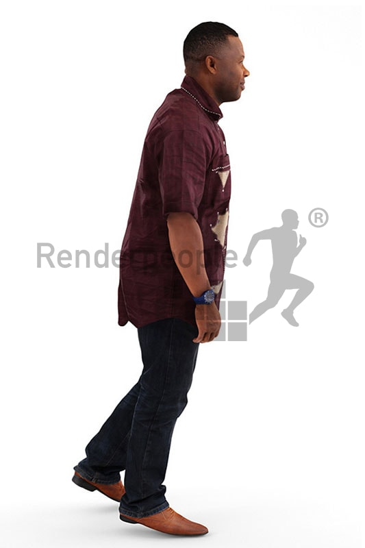 3d people casual, black 3d man with red shirt walking