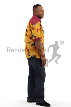 3d people casual, black 3d man with yellow shirt walking