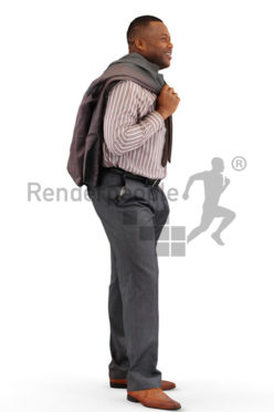 3d people business, black 3d man with a jacket over his shoulder