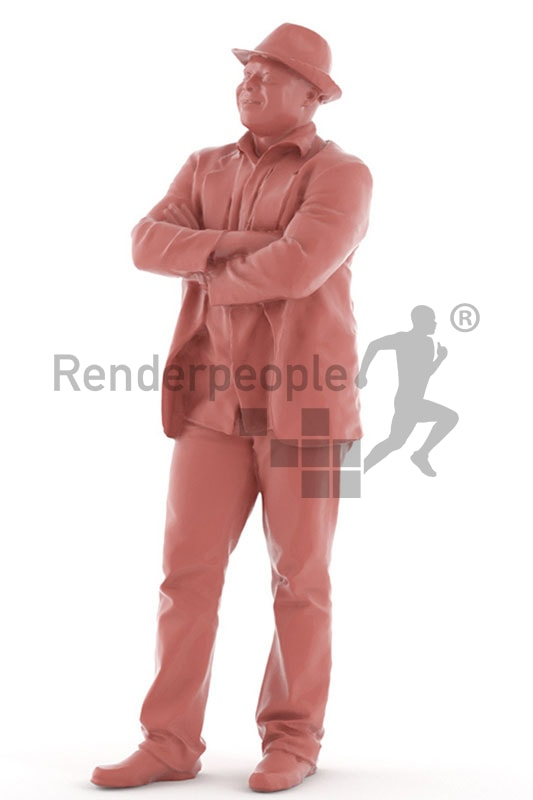 3d people casual, black 3d man standing and grinning