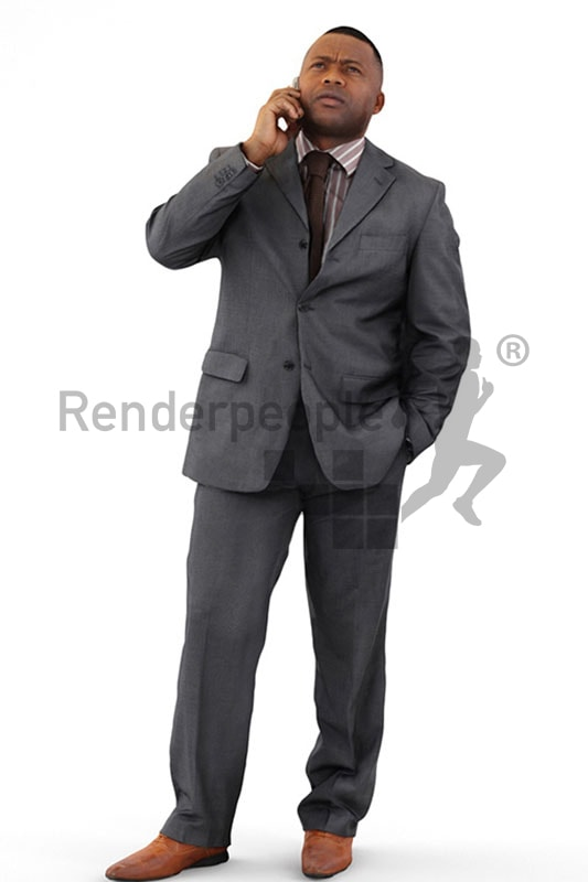 3d people business, black 3d man talking on the phone