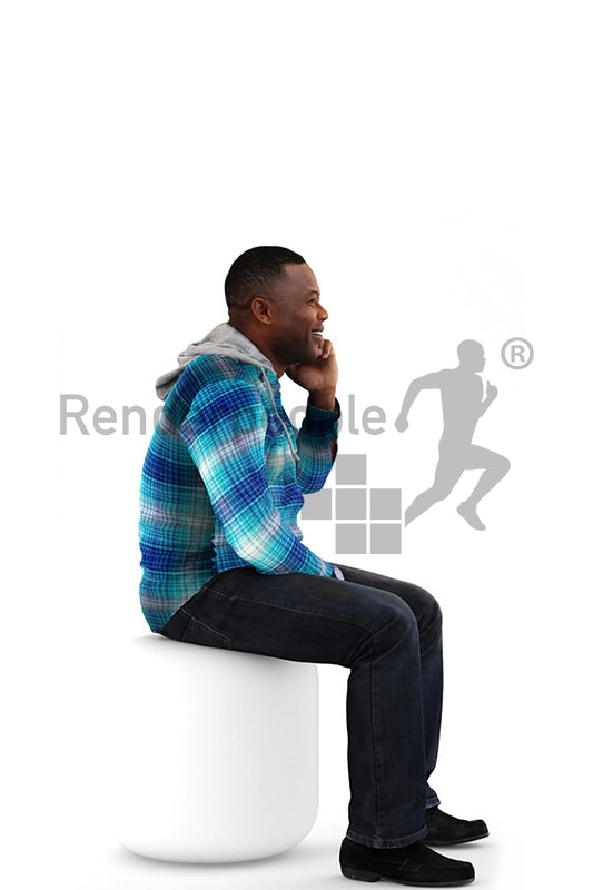 3d people casual, black 3d man sitting and talking on the phone