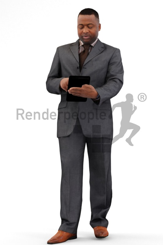 3d people business, black 3d man using a tablet