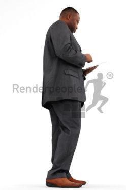 3d people business, black 3d man using a tablet