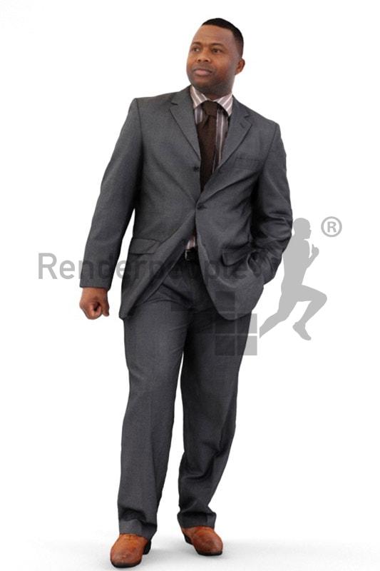 3d people business, black 3d man in suit walking