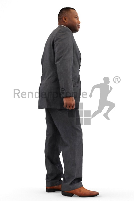3d people business, black 3d man in suit walking