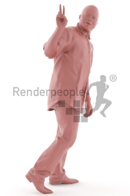 3d people casual, black 3d man walking and waving