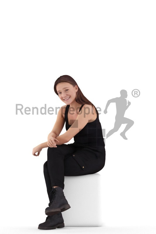Scanned human 3D model by Renderpeople – white woman sitting in casual clothes