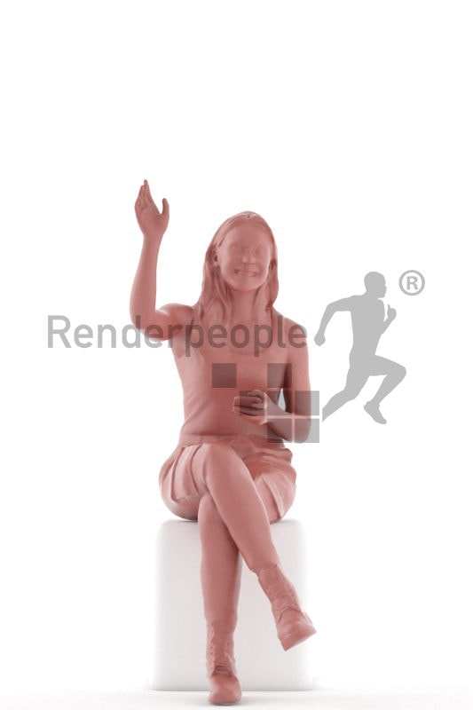 3D People model for 3ds Max and Blender – european woman sitting in daily clothes all black and greeting