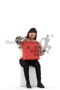 3D People model for 3ds Max and Sketch Up – casual dressed european woman, sitting and looking into her shopping bags