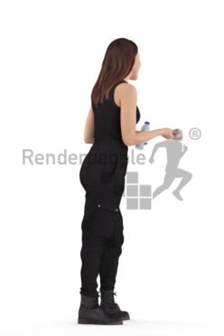 Scanned human 3D model by Renderpeople – white woman, standing and communicating, with bottle