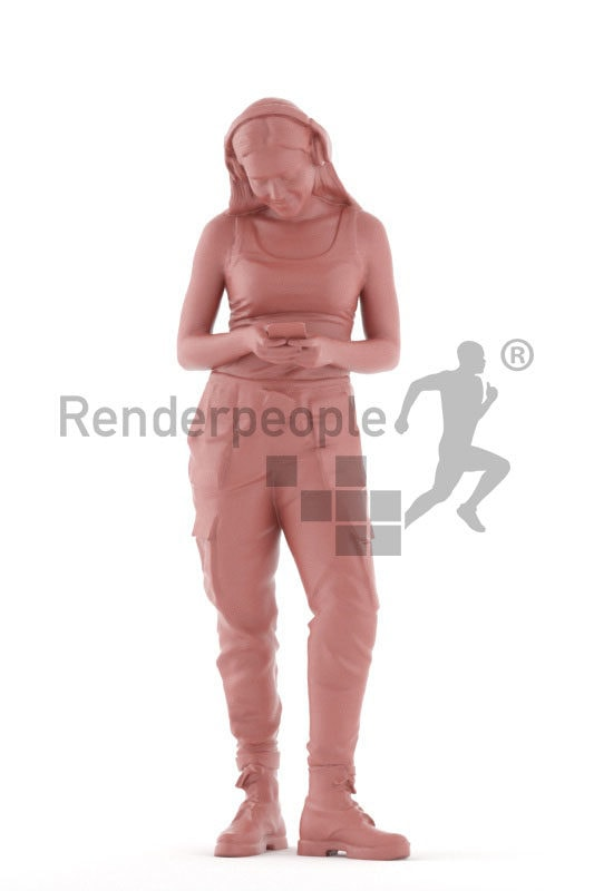 Scanned human 3D model by Renderpeople – european woman, casual, texting and listening music