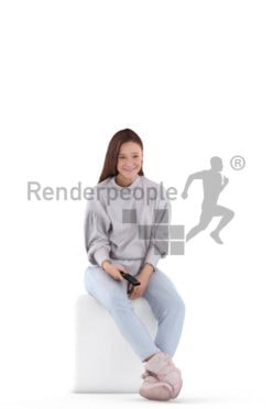 Photorealistic 3D People model by Renderpeople – sitting with remote control