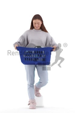 Scanned human 3D model by Renderpeople – european woman in homewear, walking with a laundry basket