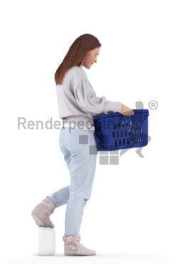 Scanned human 3D model by Renderpeople – european woman in homewear, walking with a laundry basket