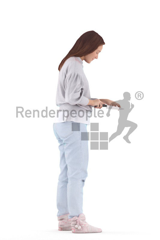 Scanned human 3D model by Renderpeople – european woman in homewear, chopping something