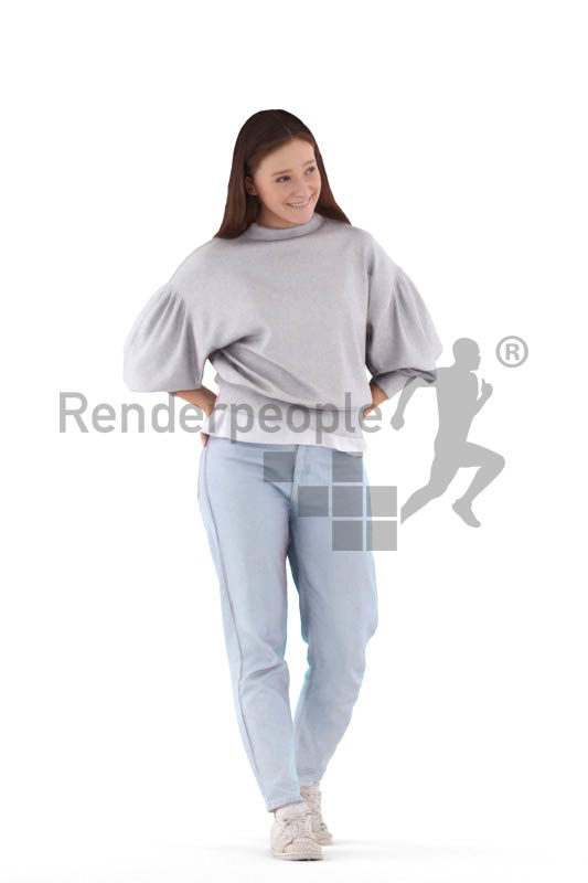 Photorealistic 3D People model by Renderpeople – white woman, casual look, walking