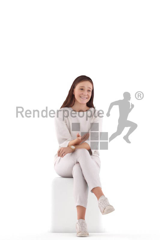 Posed 3D People model for visualization – white woman, sitting and communicating, healthcare