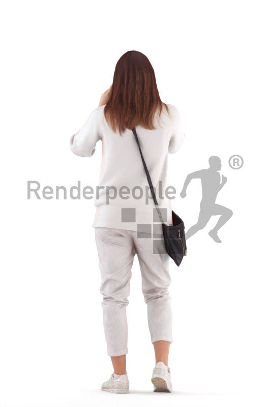 Posed 3D People model for renderings – woman, casual, taking pictures
