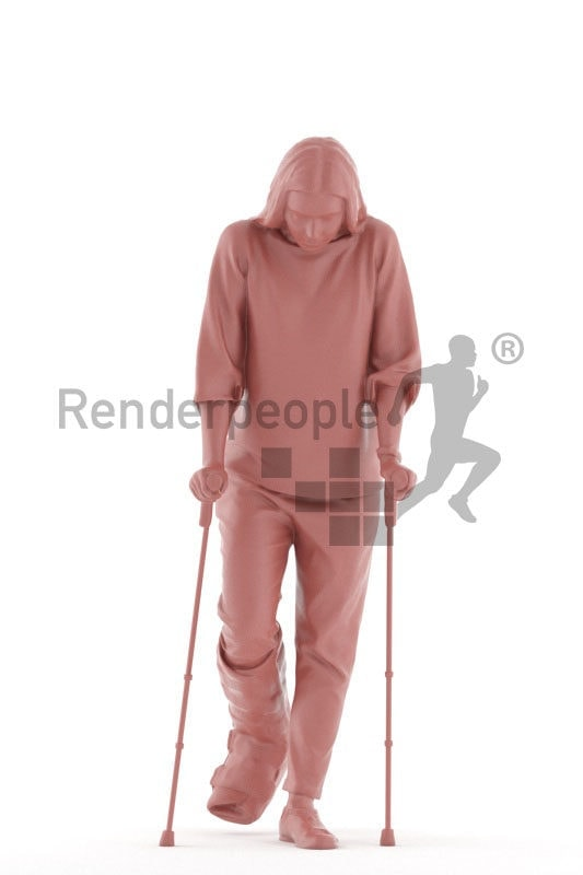 Posed 3D People model by Renderpeople – woman with a foot injury, medical healthcare