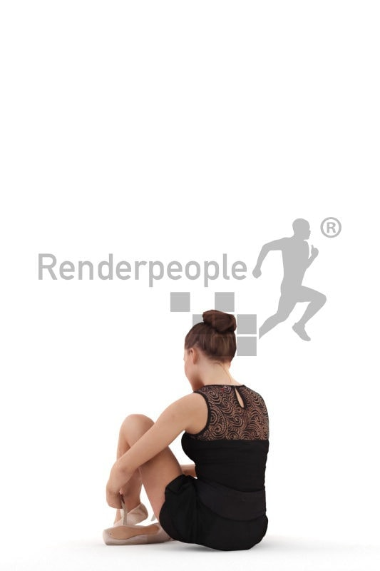 Scanned 3D People model for visualization – woman putting on her ballet slippers