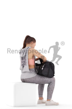 Posed 3D People model for visualization – european woman, searching for something in a sports bag, sports