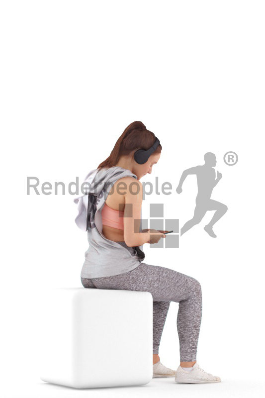 3D People model for 3ds Max and Cinema 4D – woman i workout wear, sitting and listening music