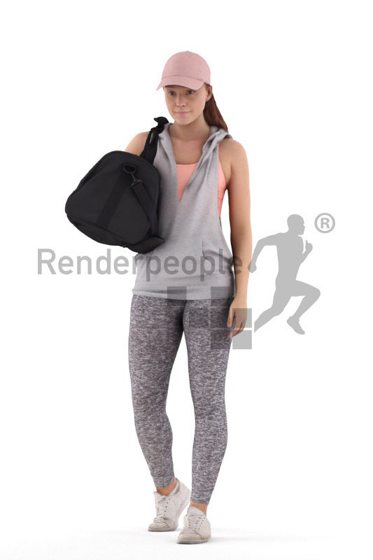 Posed 3D People model for visualization – european woman in sports outfit, with bag and cap, walking