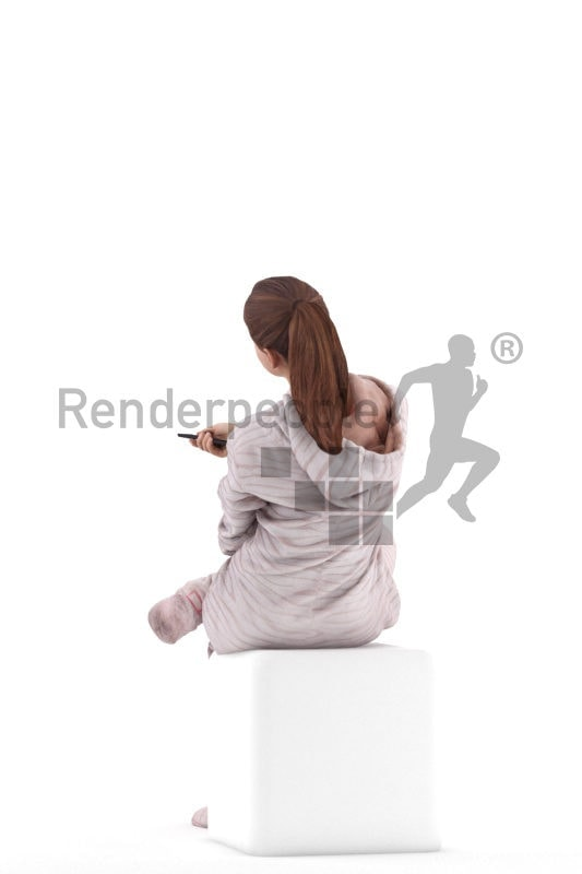 3D People model for 3ds Max and Sketch Up – girl in a onesie, with a remote control