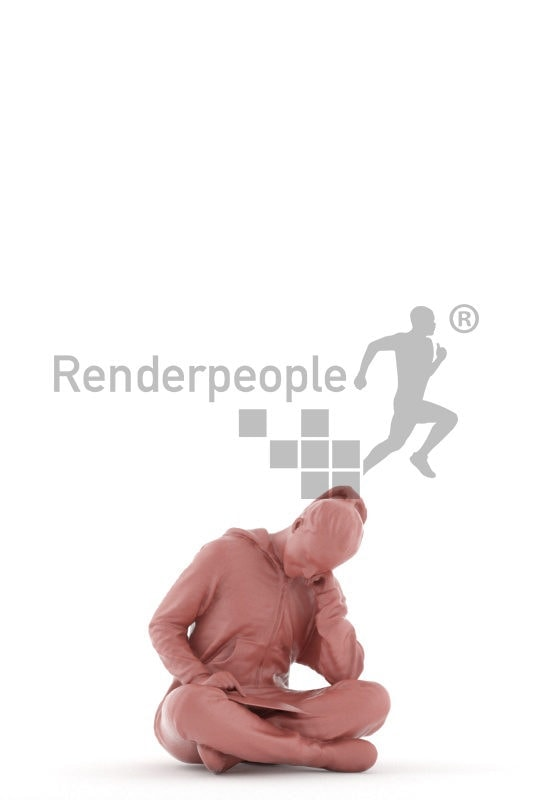 3D People model for 3ds Max and Sketch Up – girl in a onesie, reading