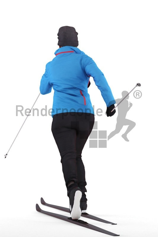 Scanned human 3D model by Renderpeople, skiing woman, skiing clothes