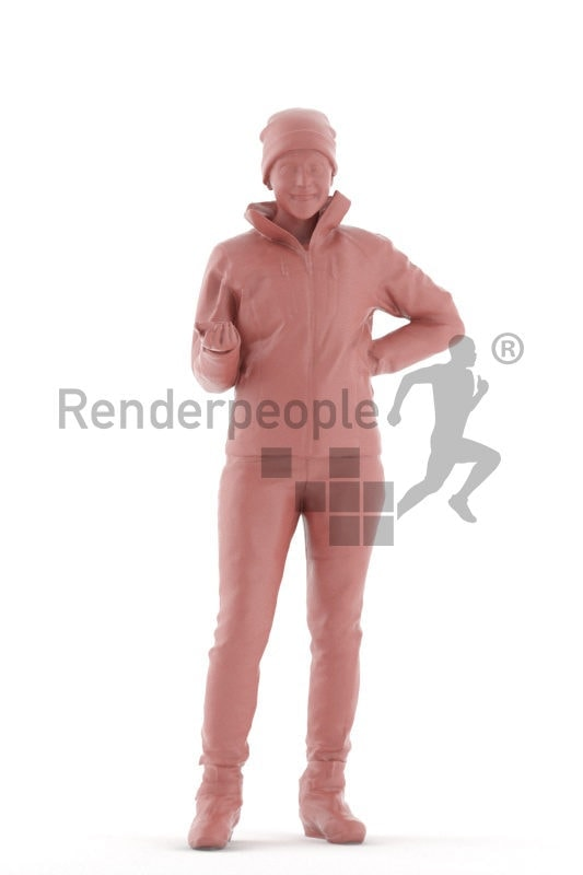 Scanned human 3D model by Renderpeople, interacting woman, skiing clothes
