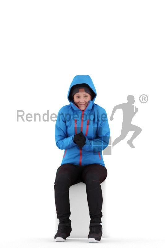 Scanned human 3D model by Renderpeople, sitting woman, skiing clothes
