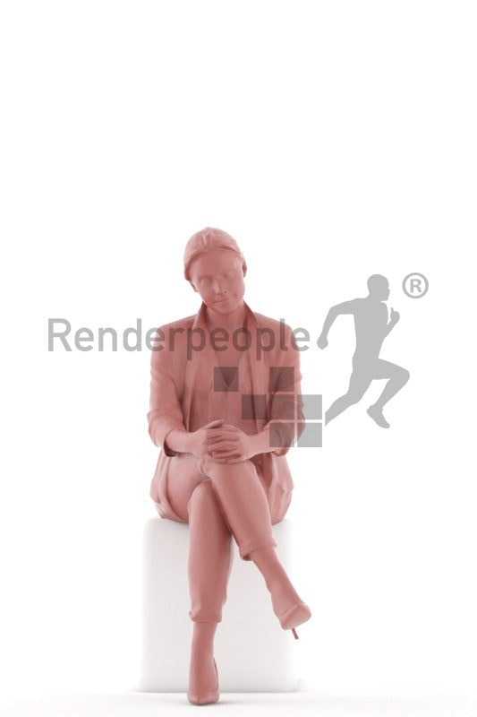 Scanned human 3D model by Renderpeople, sitting woman, business