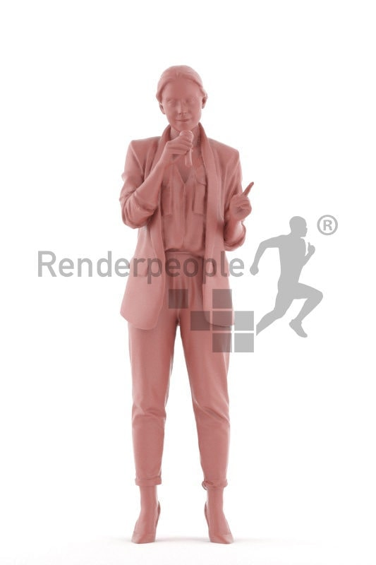 3D People model for 3ds Max and Sketch Up, white woman business, making an announcment, with micro