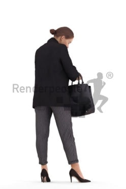 3D People model for 3ds Max and Sketch Up, white woman business, searching something in her bag