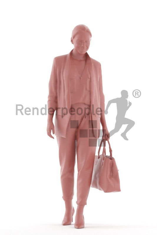 3D People model for 3ds Max and Sketch Up, white woman business, walking with bag