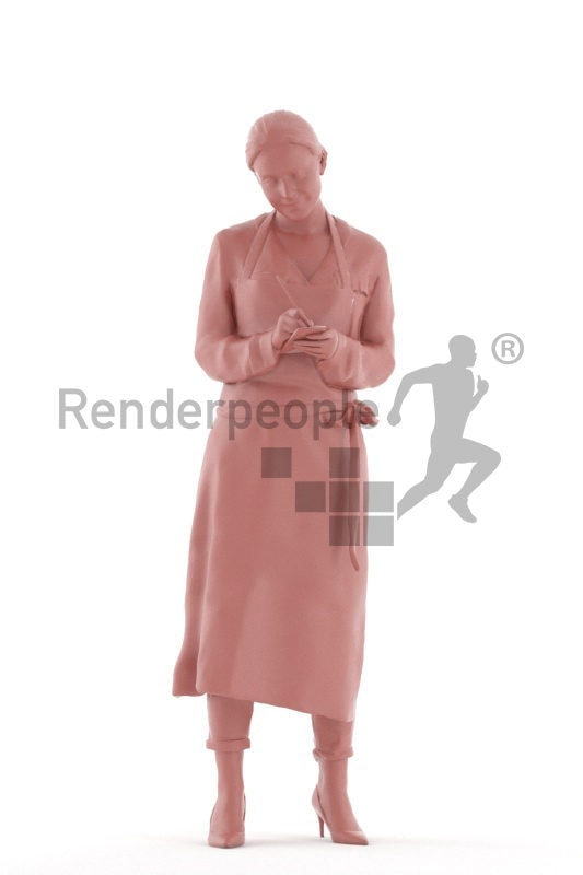 Photorealistic 3D People model by Renderpeople, white woman, taking orders, gastronomy