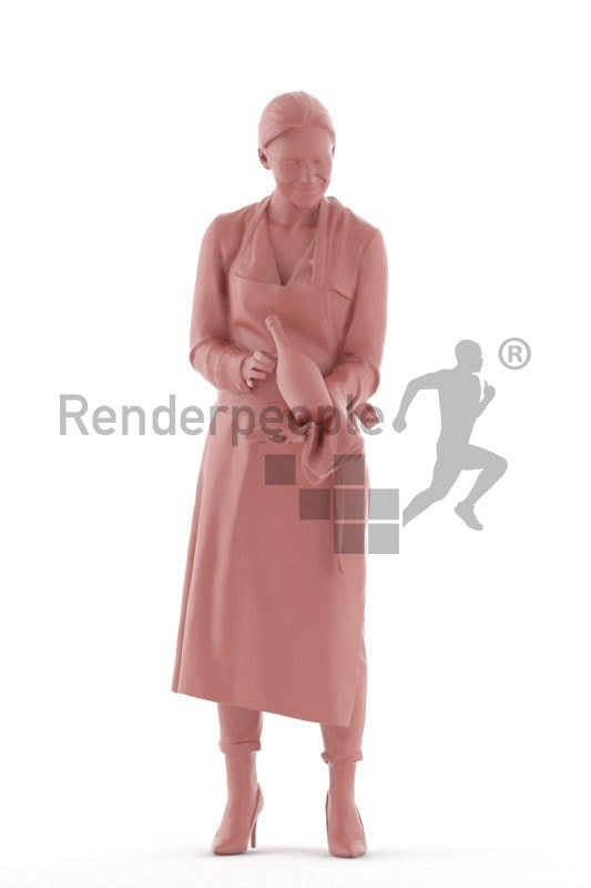 Photorealistic 3D People model by Renderpeople, white woman, serving, gastronomy