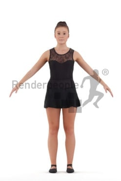 Rigged and retopologized 3D People model – european woman in ballet tricot
