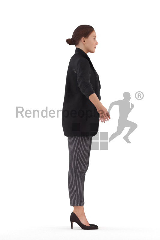 Rigged human 3D model by Renderpeople – european female in business look