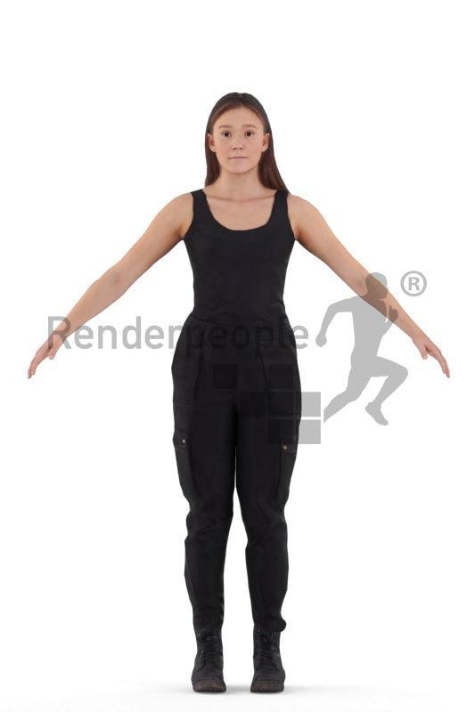 Rigged human 3D model by Renderpeople – european woman in sports wear