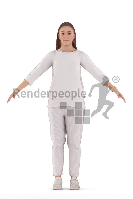 Rigged 3D People model for Maya and 3ds Max – european casual styled woman