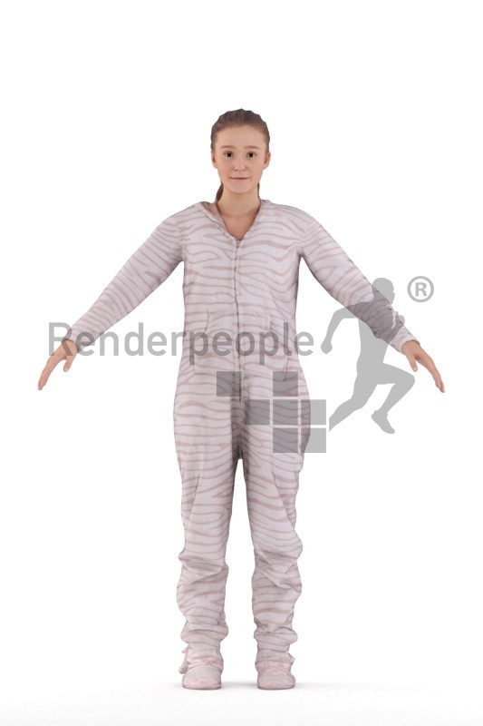 Rigged human 3D model by Renderpeople –white woman in sleeping overall