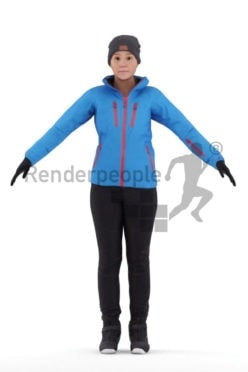 Rigged and retopologized 3D People model – european woman in skiing outfit