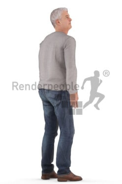 3D People model for animations – middleaged european male in casual look, standing