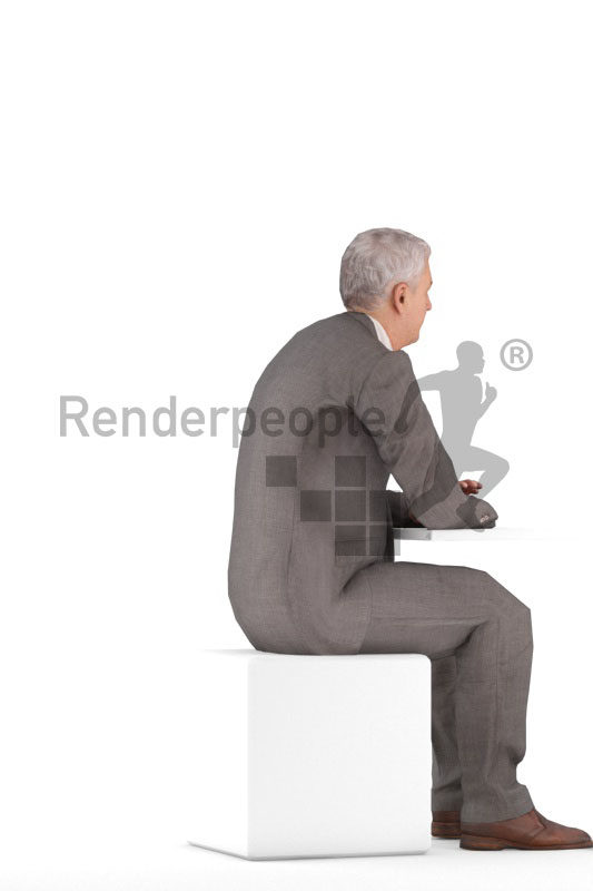 Animated 3D People model for 3ds Max and Maya – elderly european male in business look, sitting