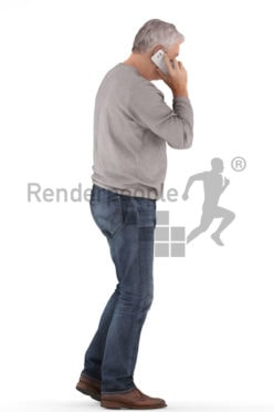 3d people casual, best ager man standing and calling somebody with his phone