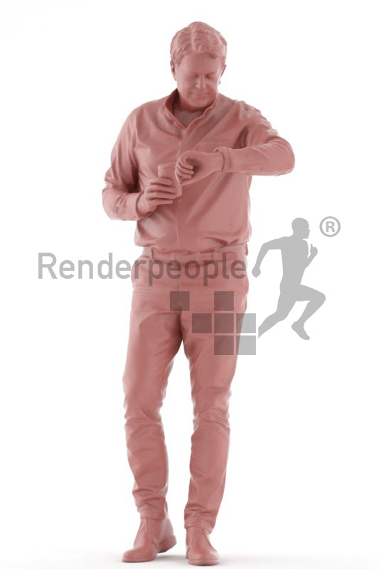 3d people casual business, best ager man standing and looking on watch and holding a cup